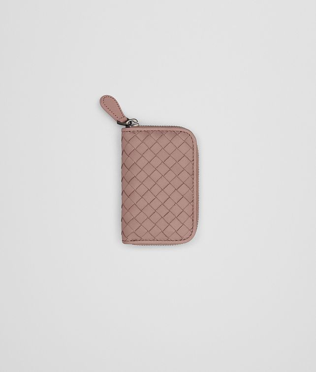 BOTTEGA VENETA COIN PURSE IN DESERT ROSE INTRECCIATO NAPPA Mini Wallet Woman fp