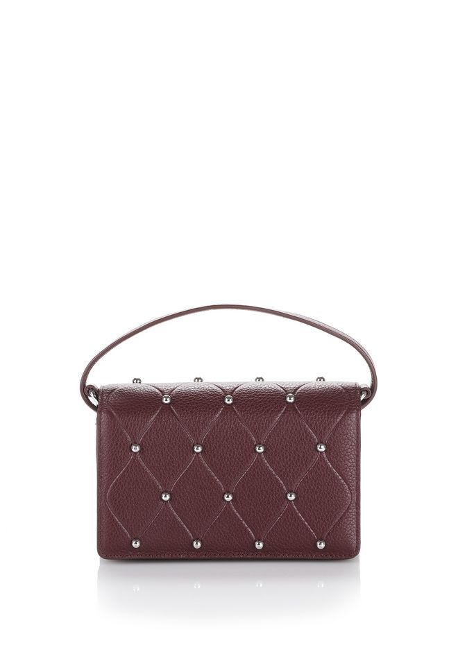 ALEXANDER WANG SMALL LEATHER GOODS Women ATTICA BIKER PURSE IN BEET WITH BALL STUDS