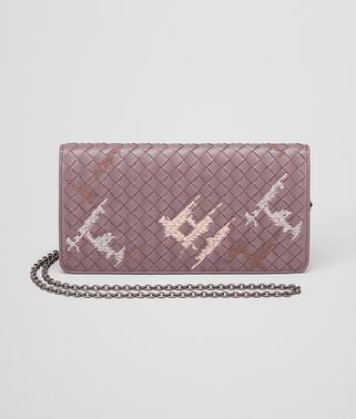 CONTINENTAL WALLET IN GLICINE EMBROIDERED INTRECCIATO NAPPA LEATHER