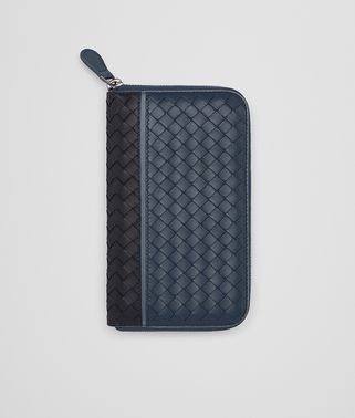 ZIP AROUND WALLET IN TOURMALINE DENIM KRIM INTRECCIATO NAPPA