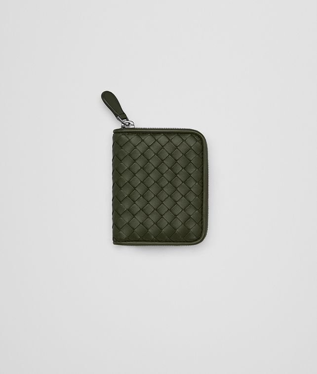 BOTTEGA VENETA COIN PURSE IN MOSS INTRECCIATO NAPPA LEATHER Mini Wallet Woman fp