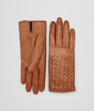 GLOVE IN DARK LEATHER NEW NAPPA, INTRECCIO DETAILS