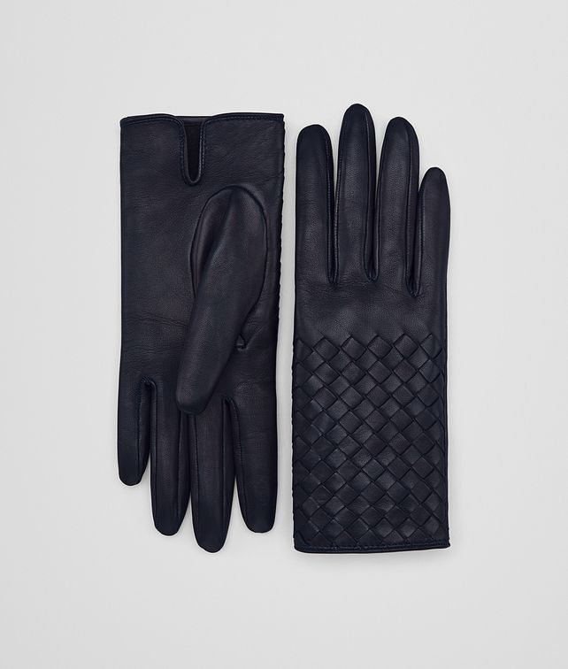 BOTTEGA VENETA GLOVE IN DARK NAVY NAPPA, INTRECCIO DETAILS Scarf or other D fp