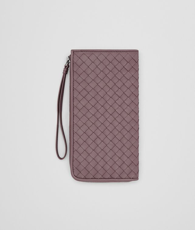 BOTTEGA VENETA ZIP AROUND WALLET IN GLICINE INTRECCIATO NAPPA Zip Around Wallet Woman fp