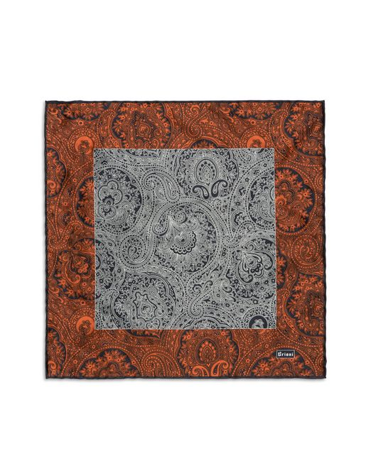 Orangee and Blue Paisley Pocket Square