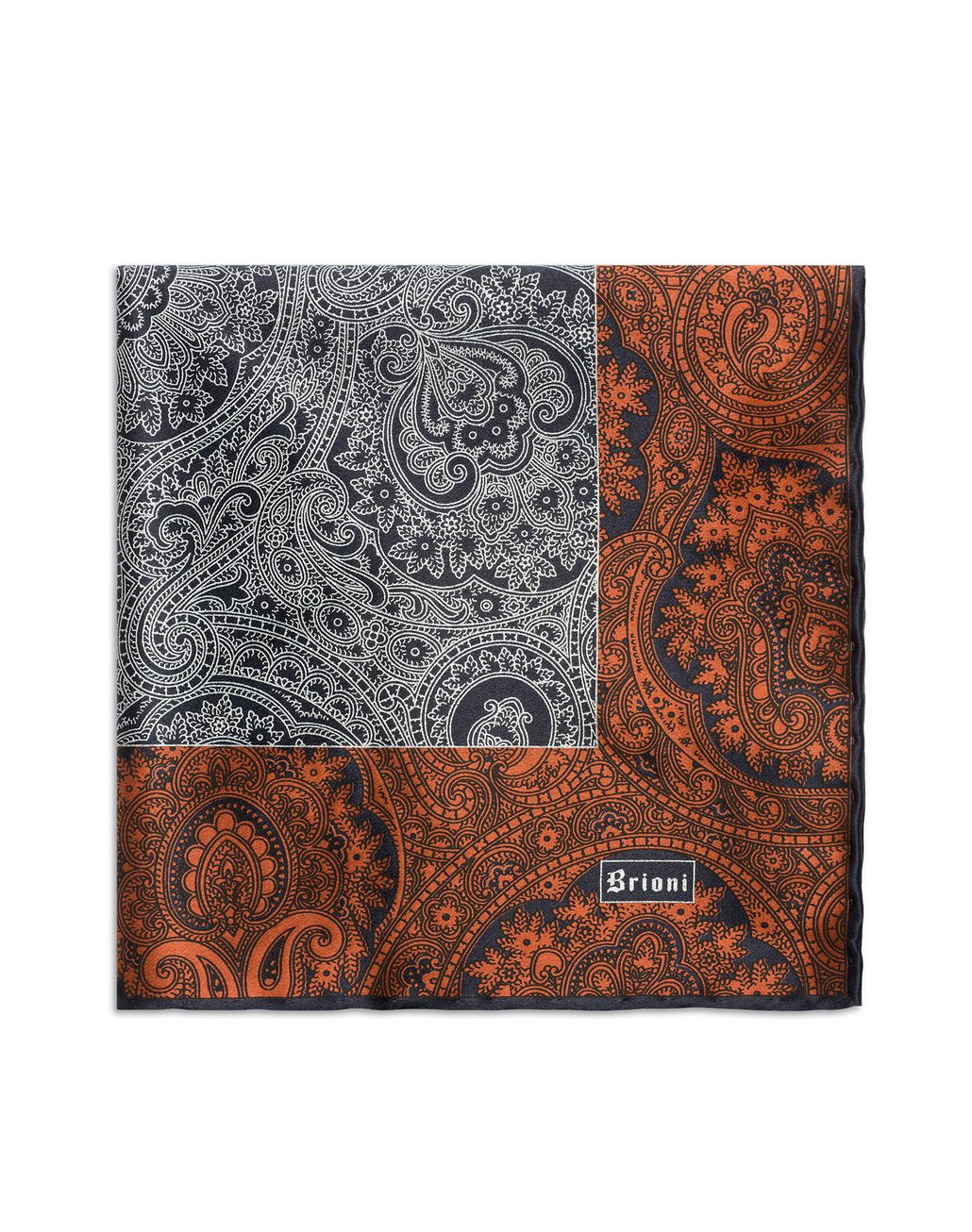 BRIONI Orangee and Blue Paisley Pocket Square Pocket Square Man d