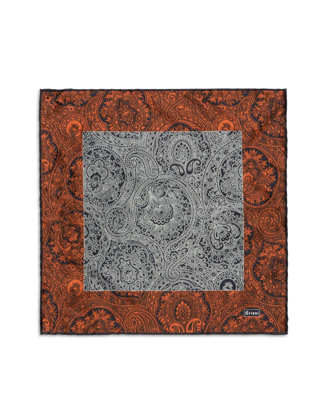 BRIONI Orangee and Blue Paisley Pocket Square Pocket Square U f