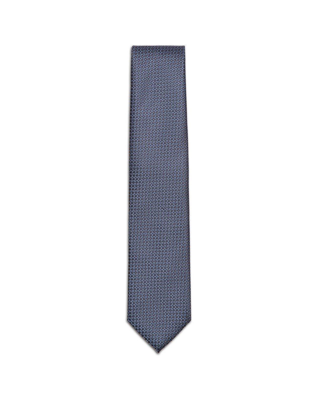 BRIONI Grey and Bluette Micro-Design Tie Tie & Pocket Square Man f