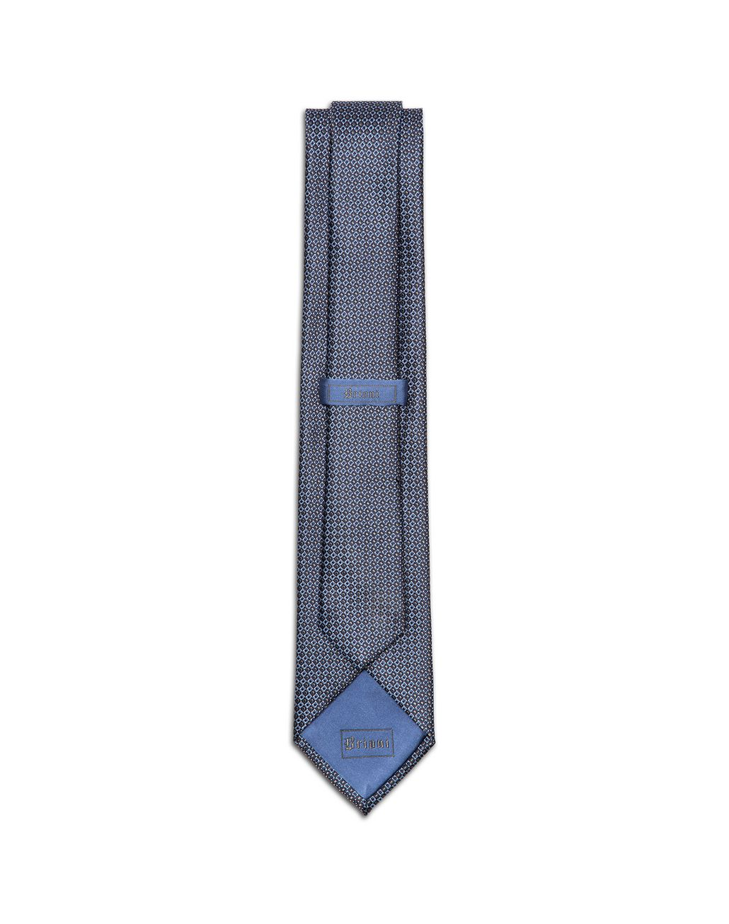BRIONI Grey and Bluette Micro-Design Tie Tie & Pocket Square Man r