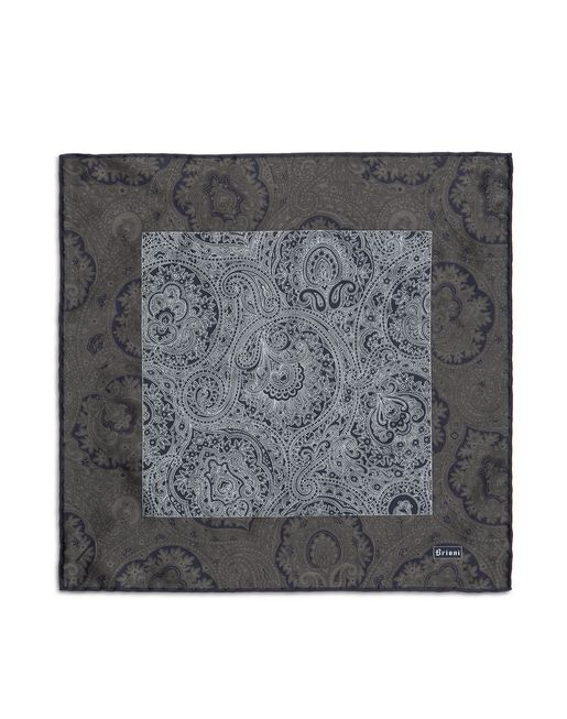 Anthracite and Blue Paisley Pocket Square