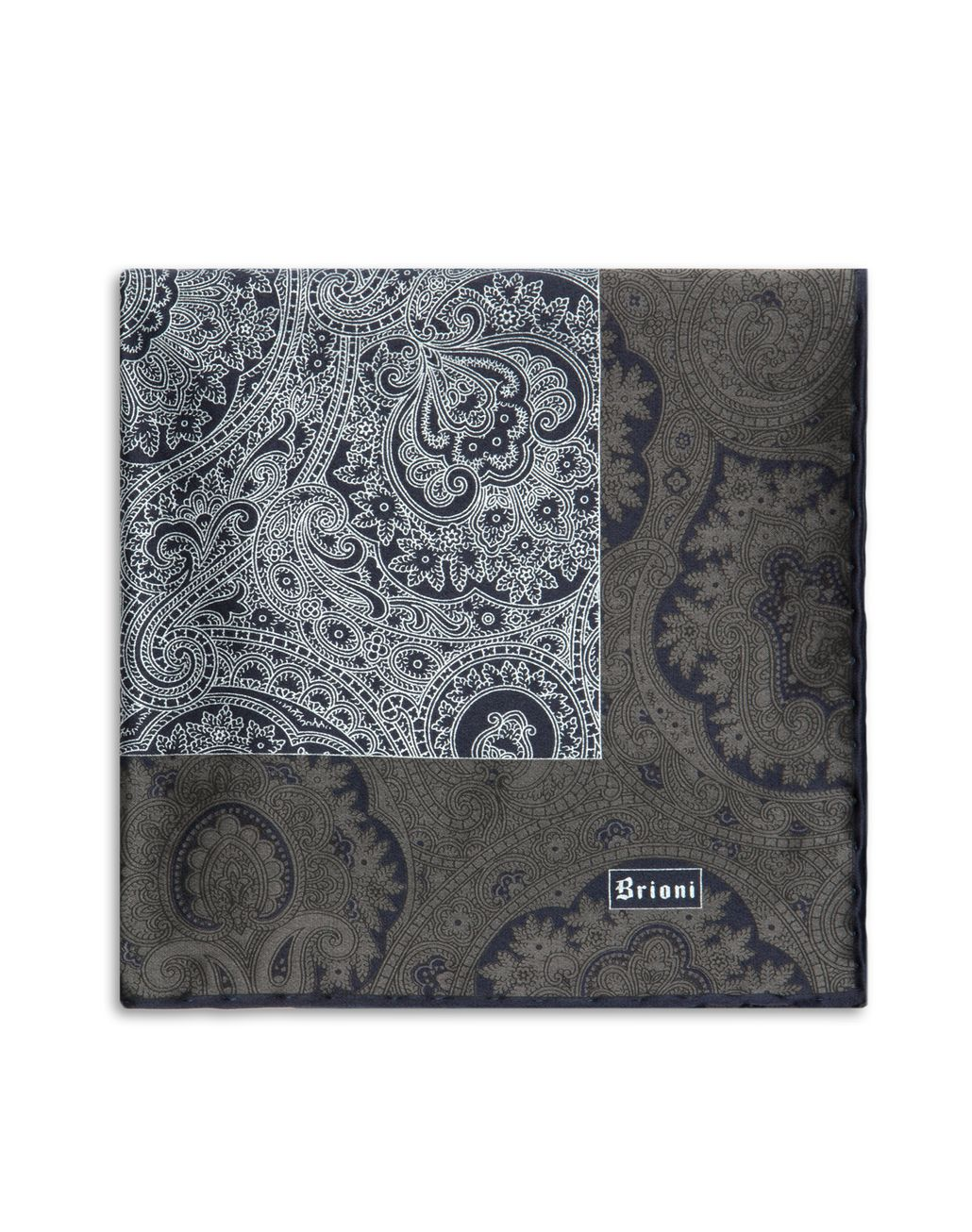 BRIONI Anthracite and Blue Paisley Pocket Square Pocket Square Man d