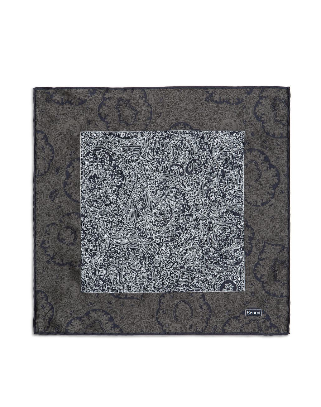BRIONI Anthracite and Blue Paisley Pocket Square Pocket Square Man f