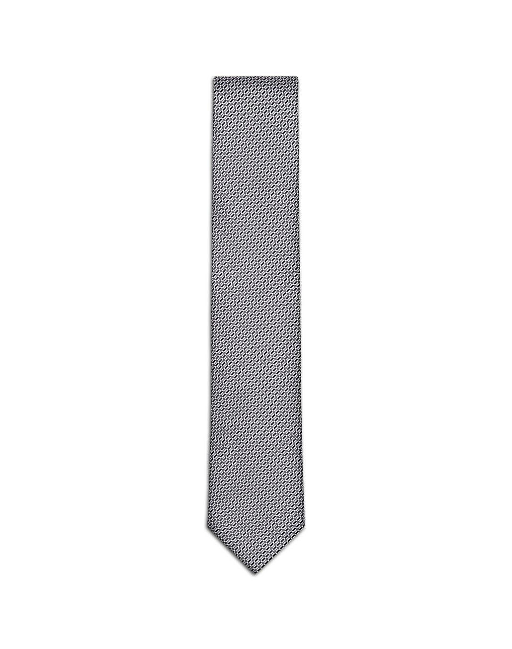 BRIONI Black and Gray Micro-Design Tie Tie & Pocket Square Man f