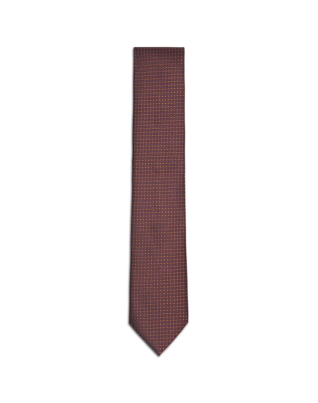 BRIONI Bourgundy and Mustard Micro-Design Tie Tie & Pocket Square U f