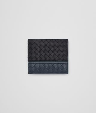 BI-FOLD WALLET IN TOURMALINE DENIM KRIM INTRECCIATO NAPPA
