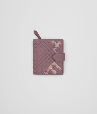 MINI WALLET IN GLICINE EMBROIDERED INTRECCIATO NAPPA