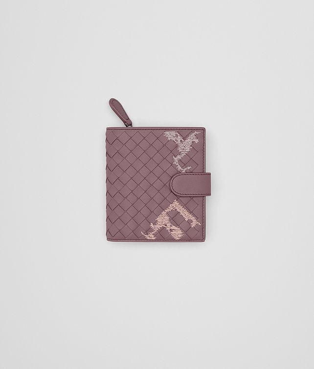 BOTTEGA VENETA MINI WALLET IN GLICINE EMBROIDERED INTRECCIATO NAPPA Mini Wallet Woman fp