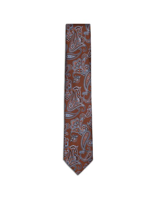 BRIONI Tie & Pocket Square U Orange and Ivory Micro-Design Tie f