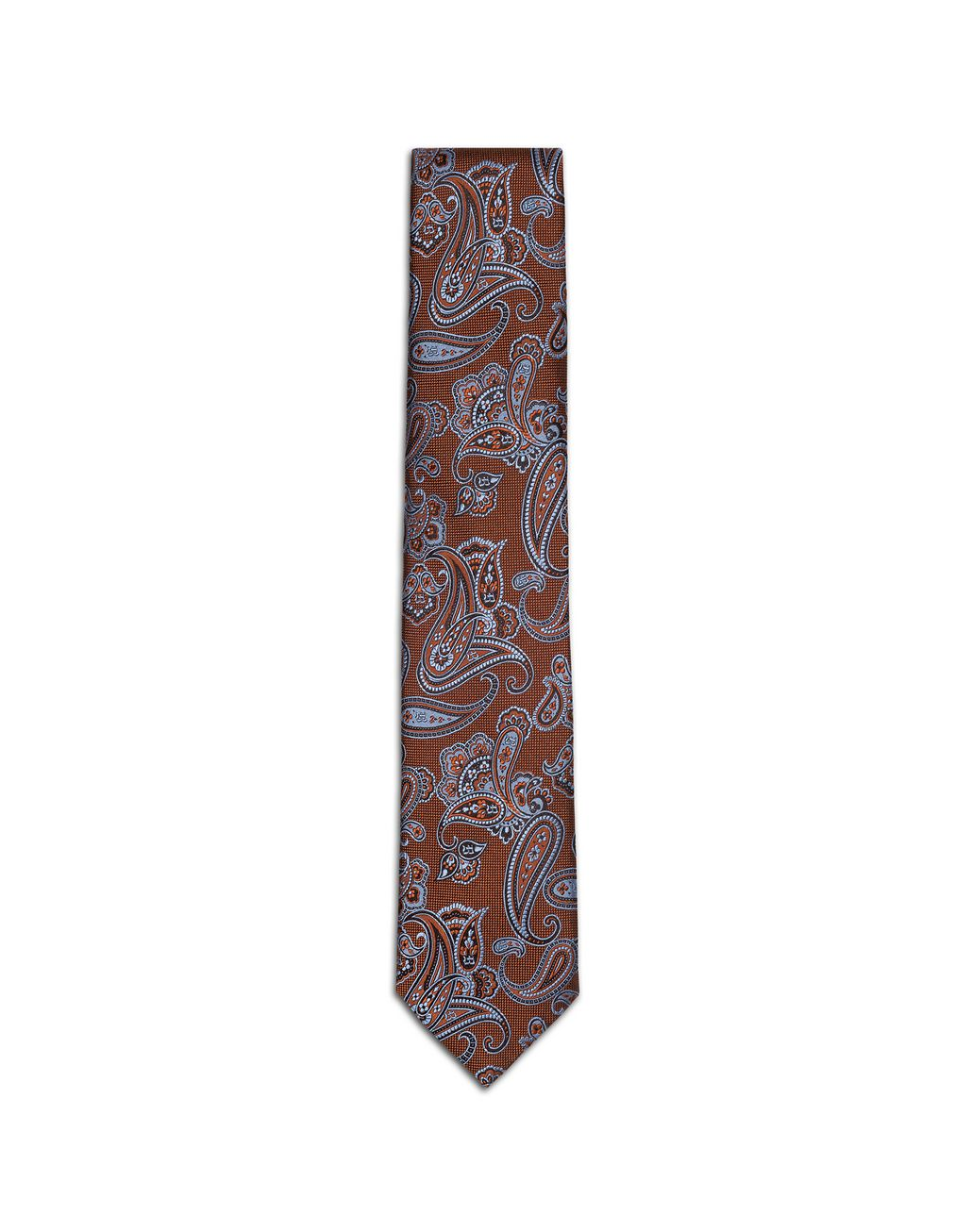 BRIONI Rust and Bluette Paisley Tie Tie & Pocket Square Man f