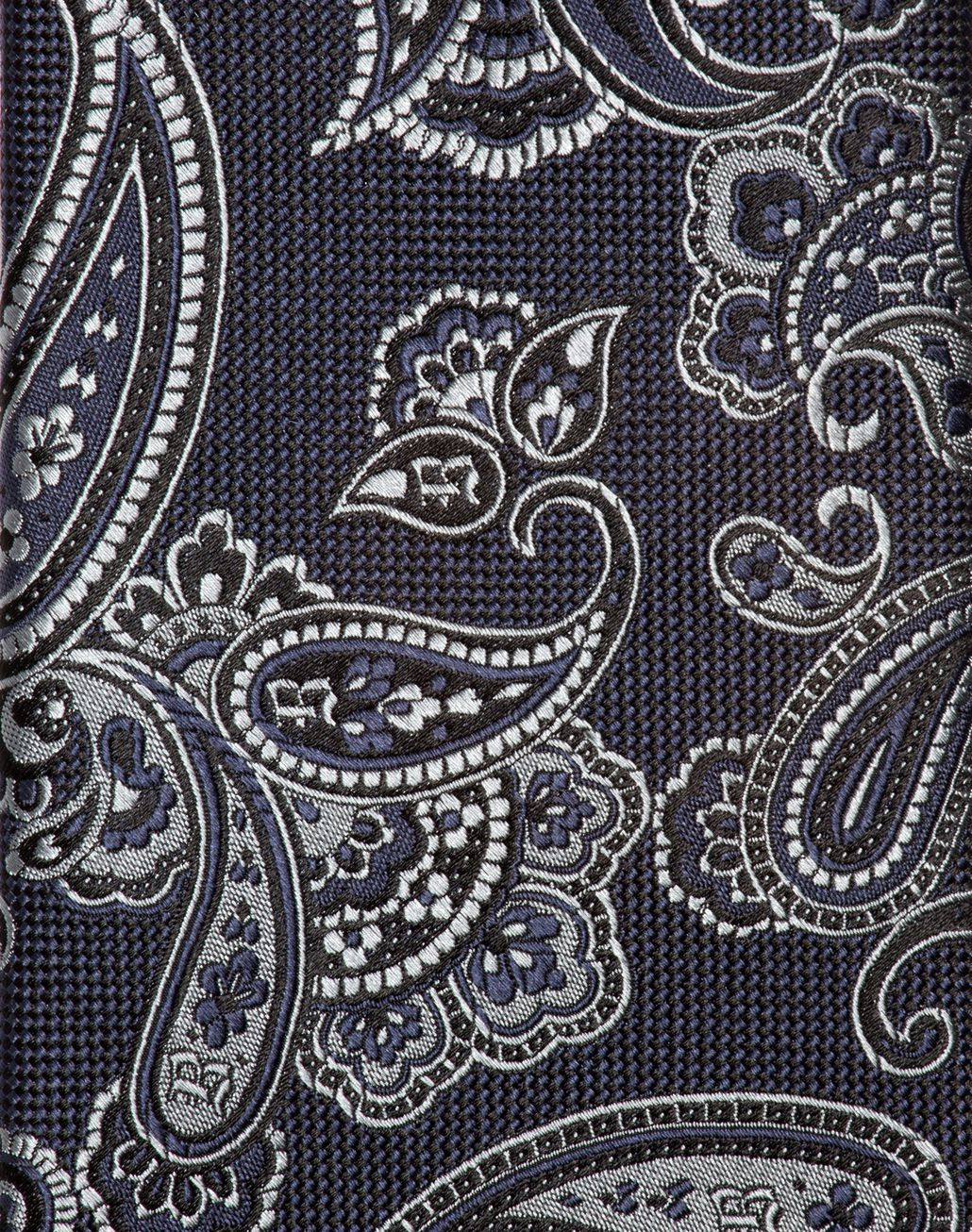 BRIONI Gray and Indigo Paisley Tie Tie & Pocket Square Man d