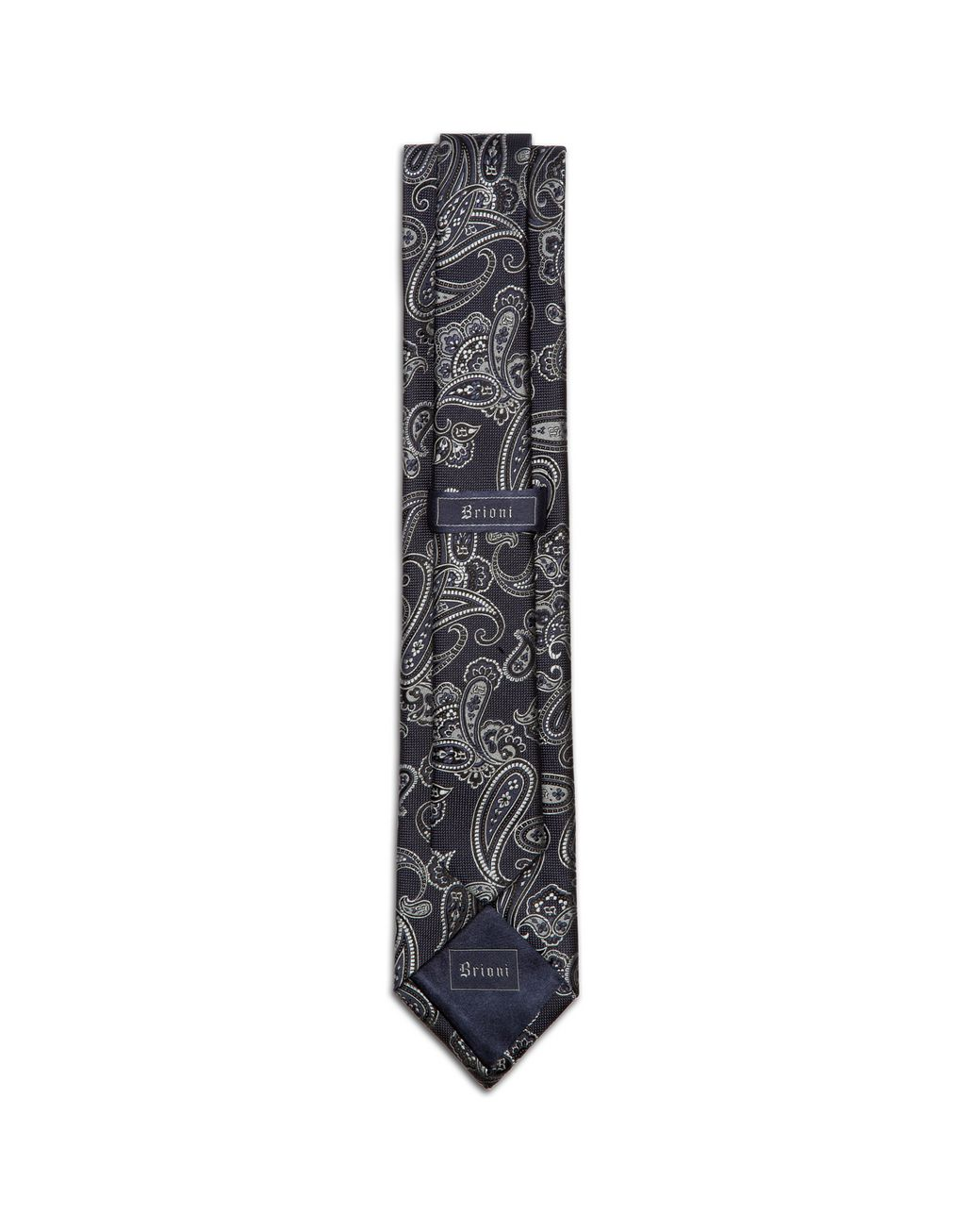BRIONI Gray and Indigo Paisley Tie Tie & Pocket Square Man r