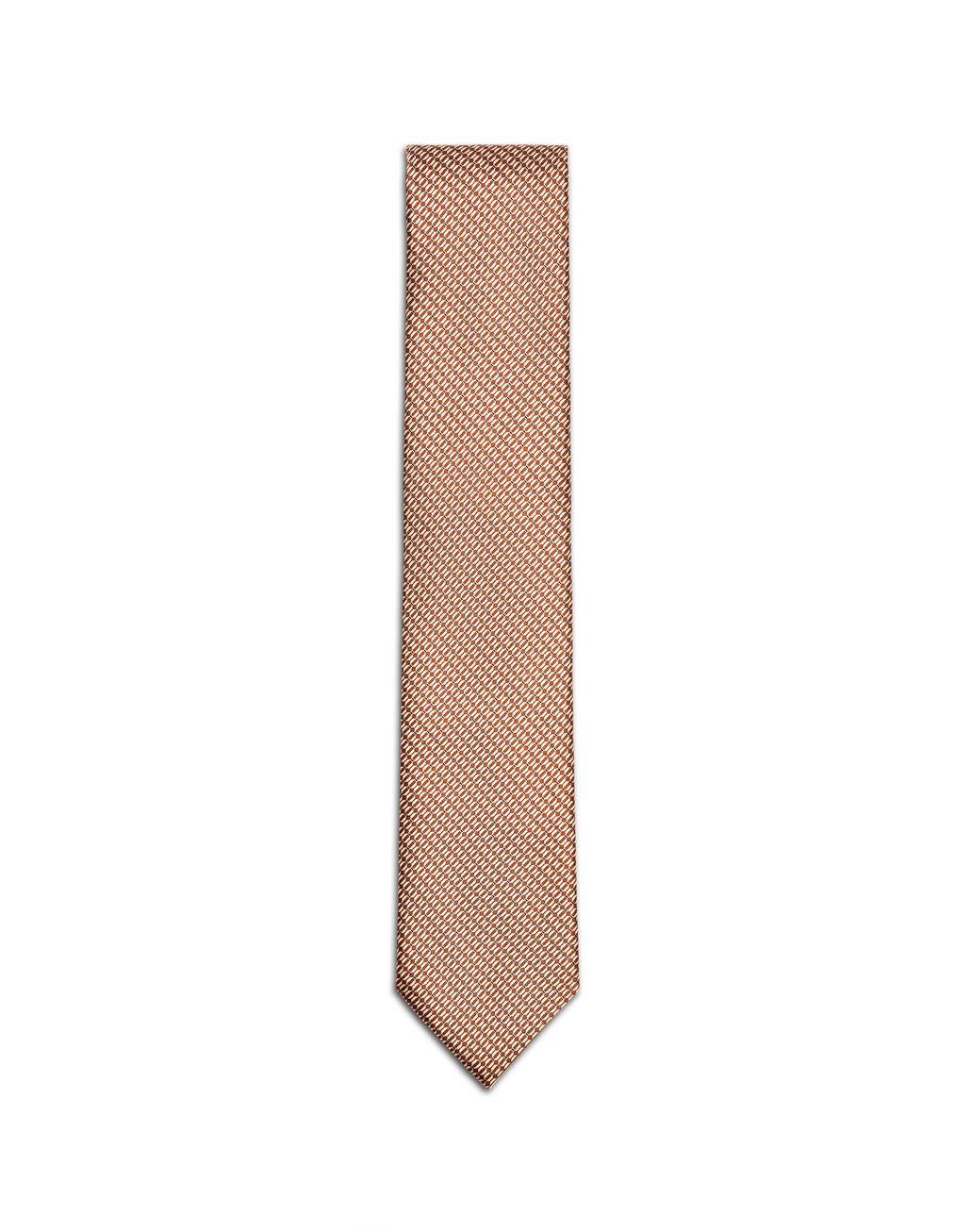 BRIONI Orange and Ivory Micro-Design Tie Tie & Pocket Square Man f