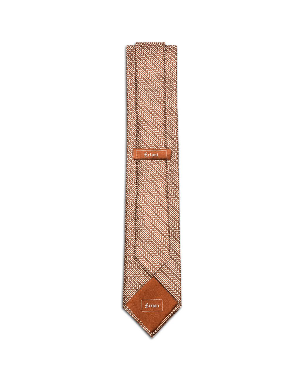 BRIONI Orange and Ivory Micro-Design Tie Tie & Pocket Square U r