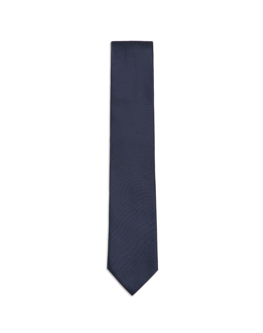 BRIONI Navy Blue Pinstriped Tie Tie & Pocket Square U f