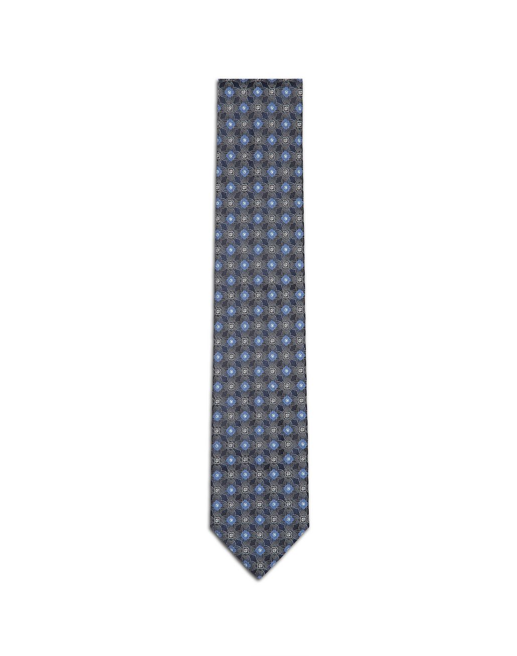 BRIONI Navy Blue and Bluette Macro-Design Tie Tie & Pocket Square U f