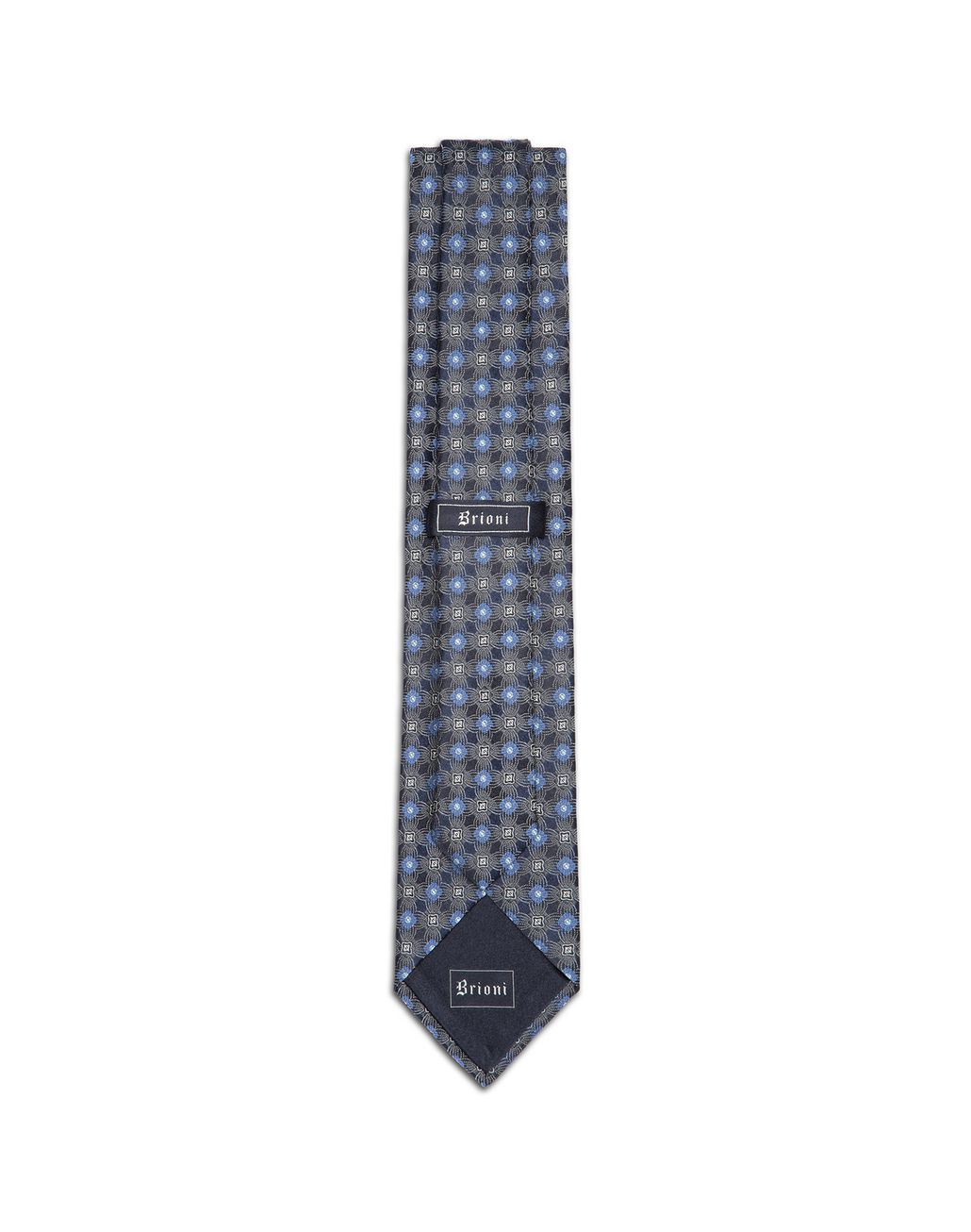 BRIONI Navy Blue and Bluette Macro-Design Tie Tie & Pocket Square Man r