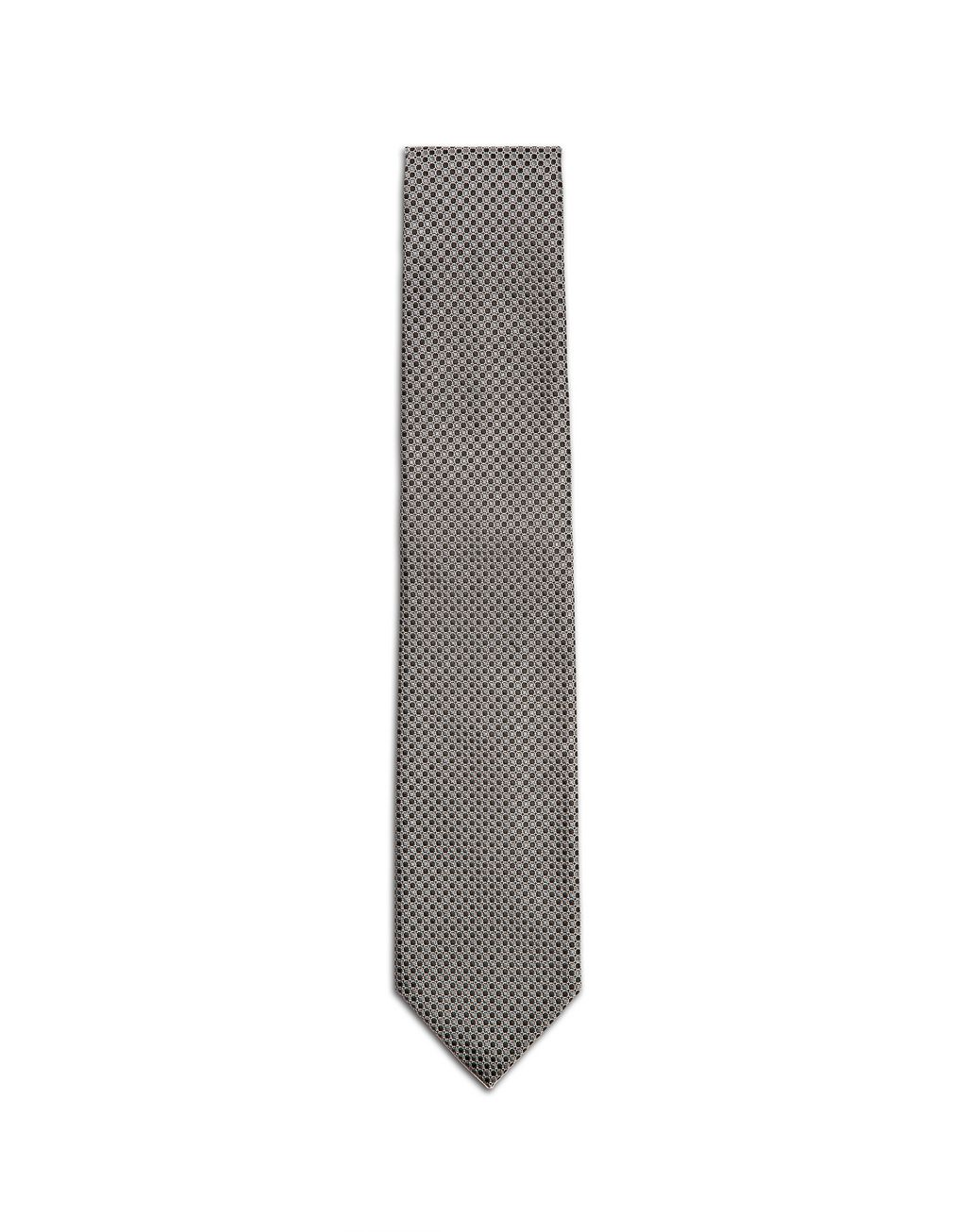 BRIONI Black and Grey Micro-Design Tie Tie & Pocket Square Man f