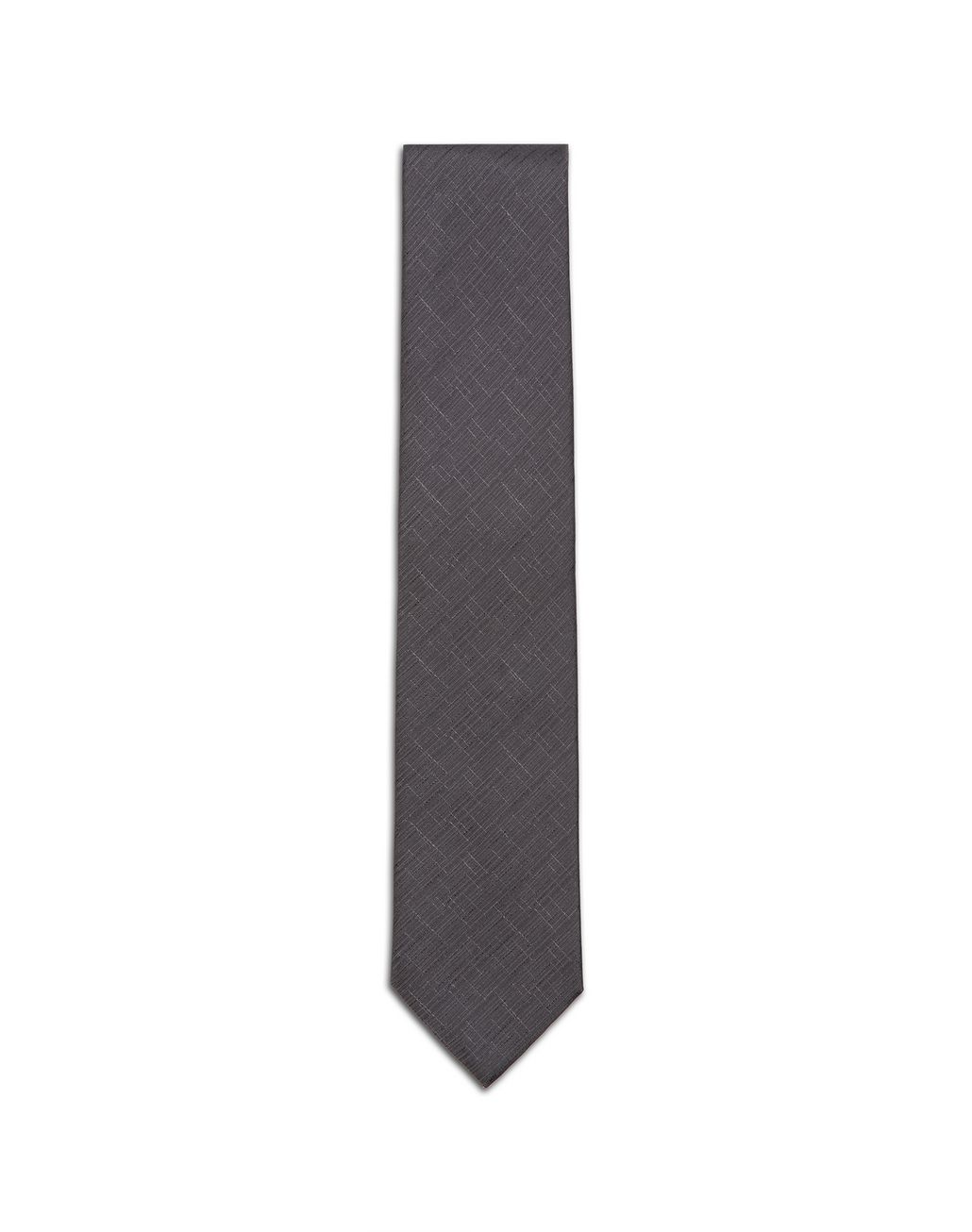 BRIONI Graphite Gray Shantung Tie Tie & Pocket Square Man f
