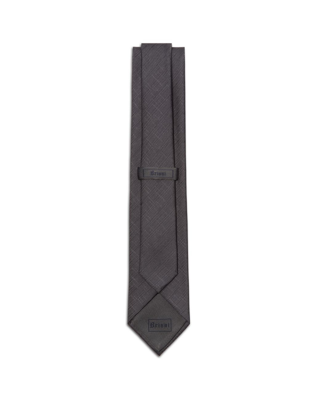 BRIONI Graphite Gray Shantung Tie Tie & Pocket Square Man r
