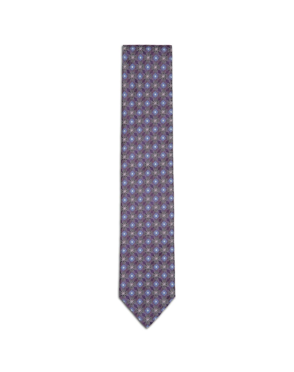 BRIONI Pourple and Bluette Macro Design Tie Tie & Pocket Square Man f