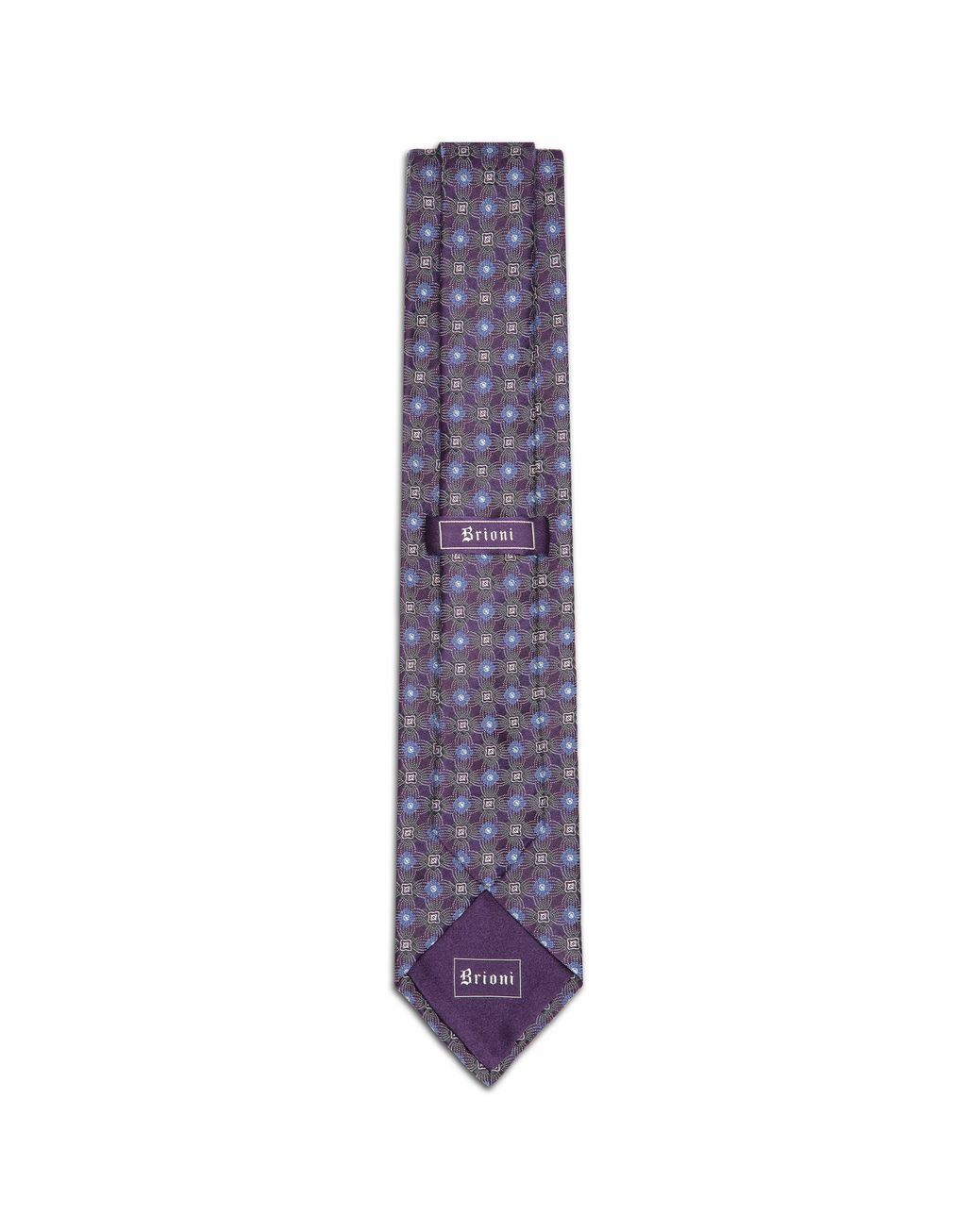 BRIONI Pourple and Bluette Macro Design Tie Tie & Pocket Square U r