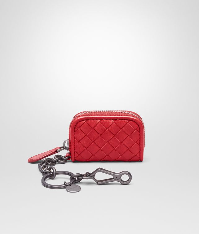 BOTTEGA VENETA KEY RING IN CHINA RED INTRECCIATO NAPPA Keyring or Bracelets E fp