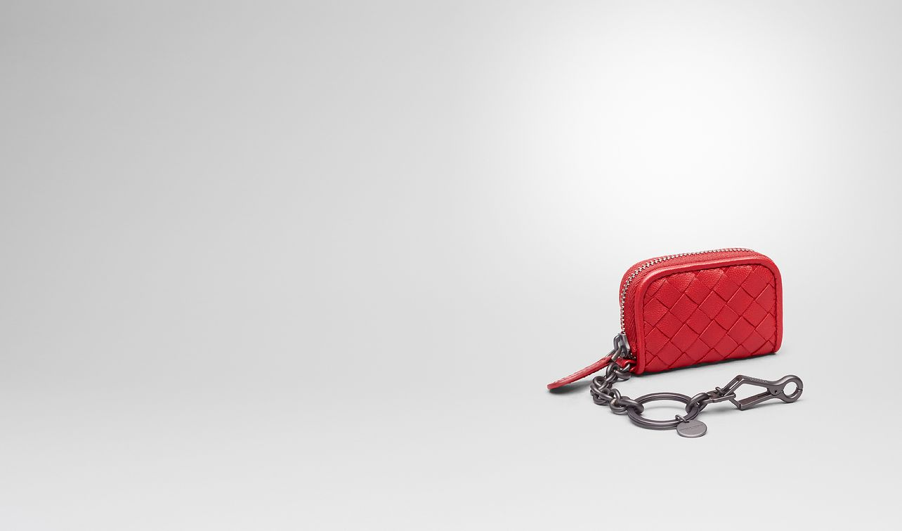 key ring in china red intrecciato nappa leather landing