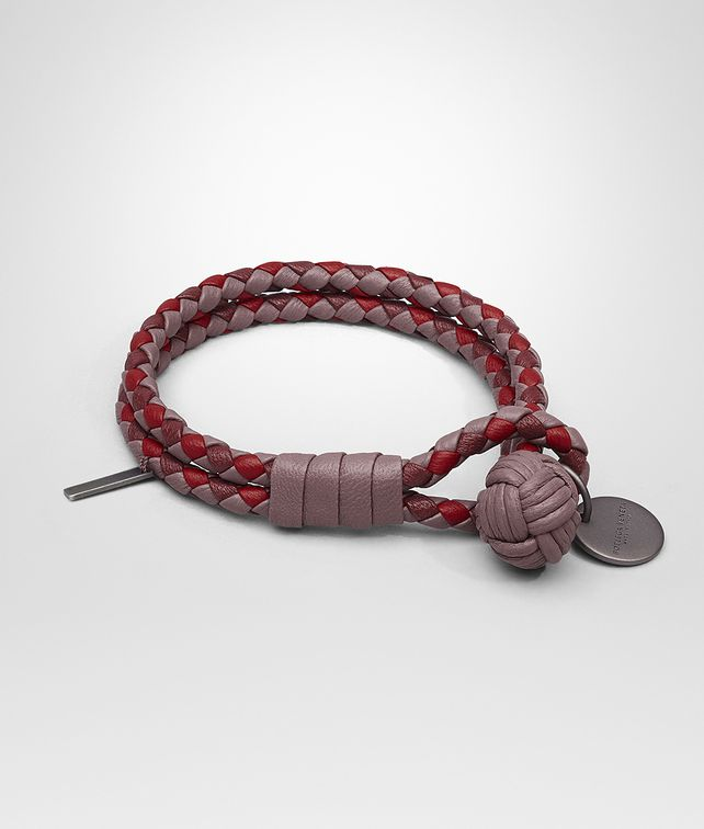 BOTTEGA VENETA BRACELET IN GLICINE BAROLO CHINA RED INTRECCIATO NAPPA CLUB Keyring or Bracelets Woman fp