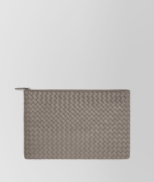 BOTTEGA VENETA PORTA DOCUMENTI GRANDE IN INTRECCIATO NAPPA STEEL Pochette E fp