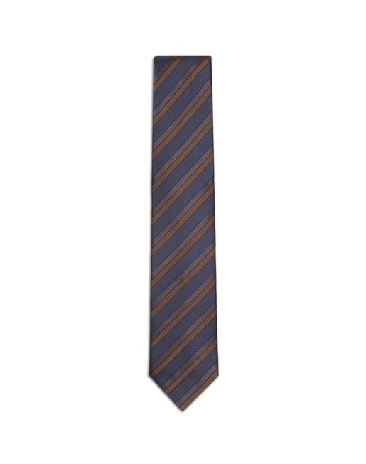 BRIONI Tie & Pocket Square U Navy Blue and Rust Regimental Tie f