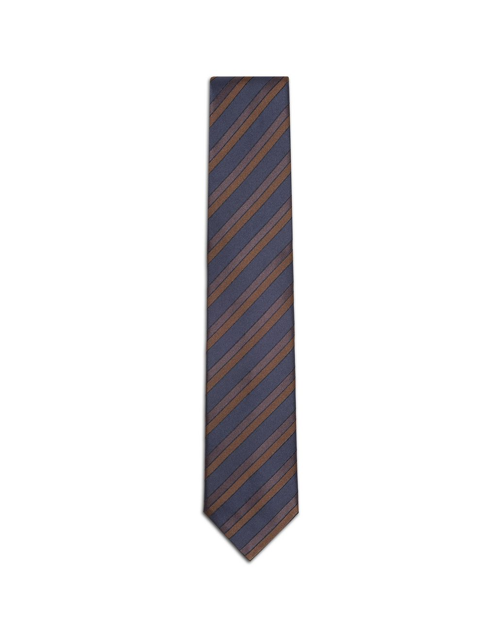 BRIONI Navy Blue and Rust Regimental Tie Tie & Pocket Square Man f