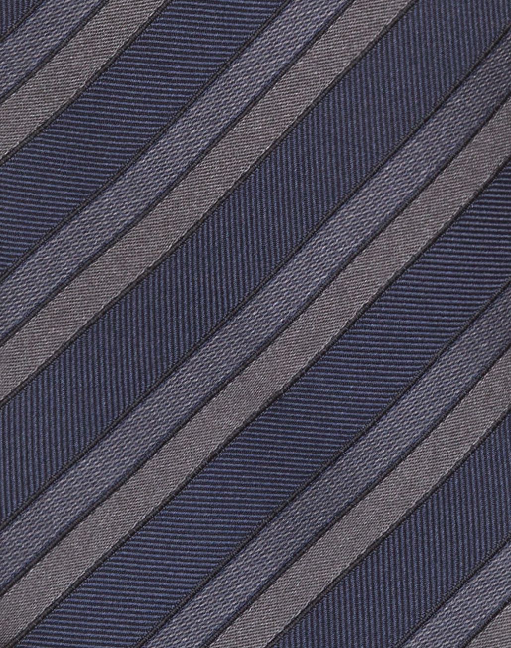BRIONI Gray and Navy Blue Regimental Tie Tie & Pocket Square Man d