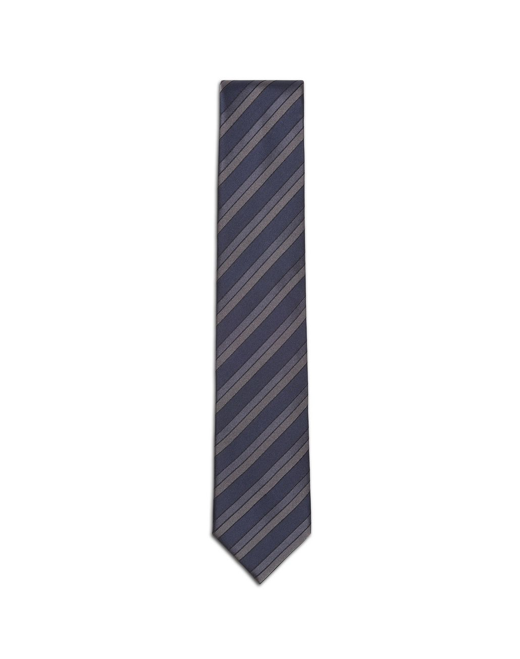 BRIONI Gray and Navy Blue Regimental Tie Tie & Pocket Square Man f