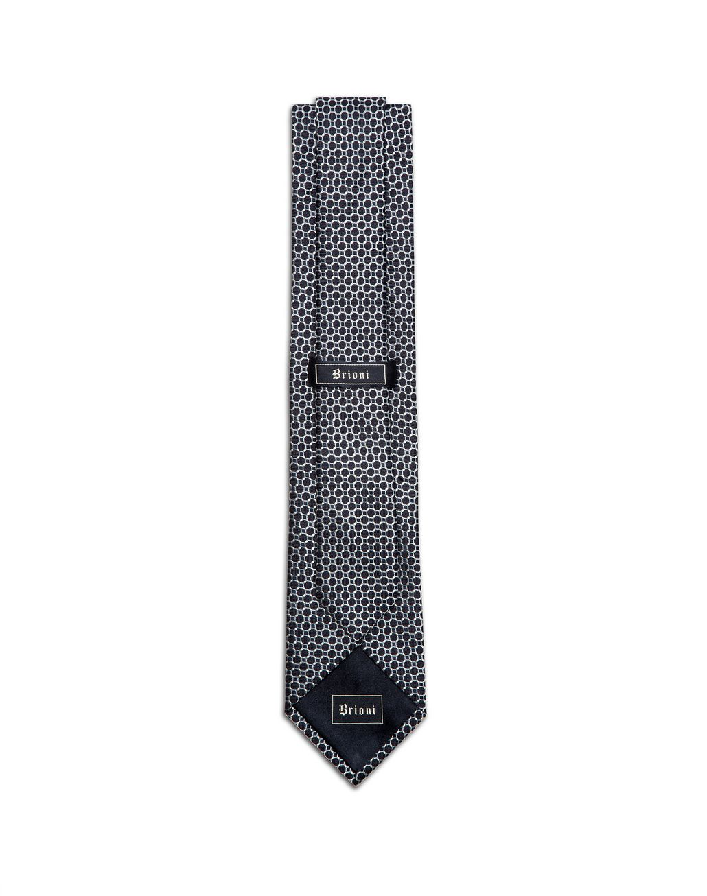BRIONI Blue Macro-Design Tie Tie & Pocket Square Man r