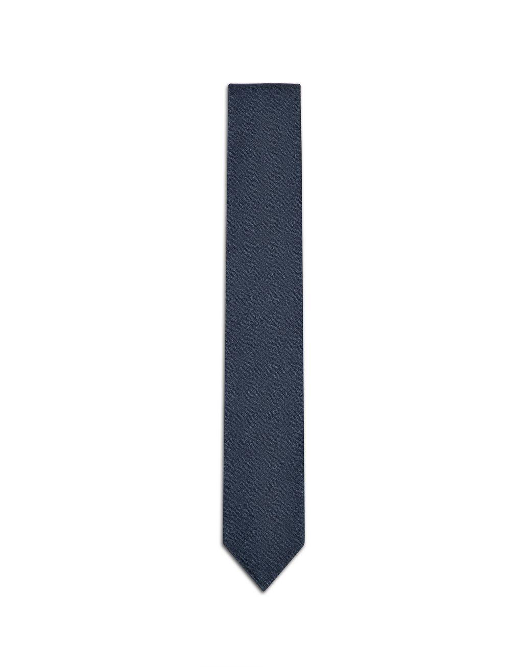 BRIONI Blue Navy Chevron Unlined Tie Tie & Pocket Square Man f