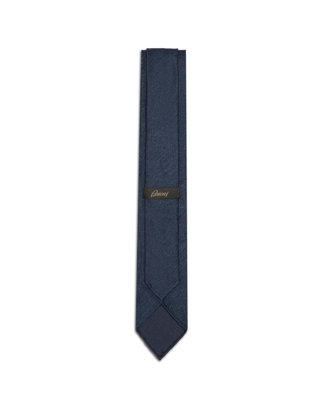 BRIONI Blue Navy Chevron Unlined Tie Tie & Pocket Square Man r