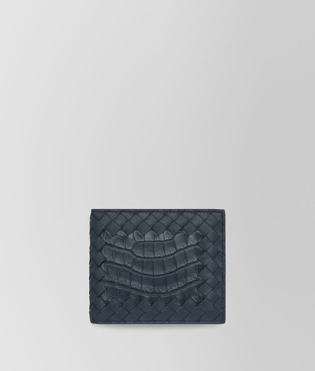 BOTTEGA VENETA BI-FOLD WALLET IN DENIM CROCODILE AND INTRECCIATO NAPPA Bi-fold Wallet U fp