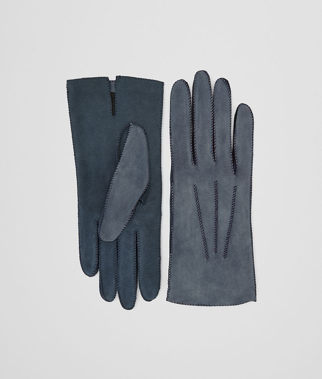 BOTTEGA VENETA GLOVE IN KRIM DENIM SUEDE, INTRECCIO DETAILS Hat or gloves Woman fp