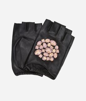 KARL LAGERFELD K/GEO STONE FINGERLESS GLOVES