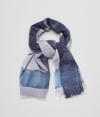 SCARF IN PERWINKLE BLUE CASHMERE WOOL SILK